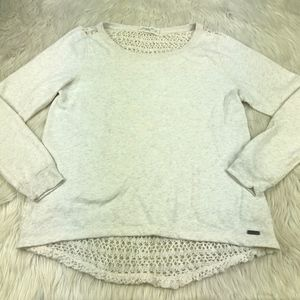 A&F Crochet Back Pull Over Crew Sweatshirt